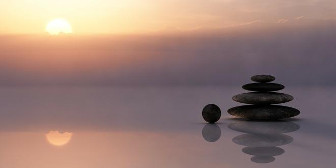 meditation lake stones