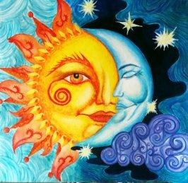 sun moon drawring