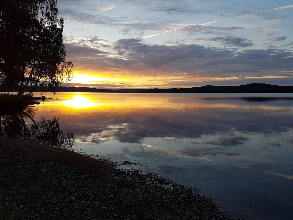 silence lake sunset